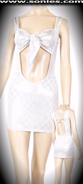Aderyn sleeveless hologram Lycra dress with matching thong panty