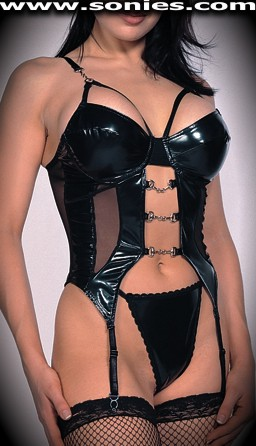 Themis vinyl with mesh Lycra bustier and G-String panty set