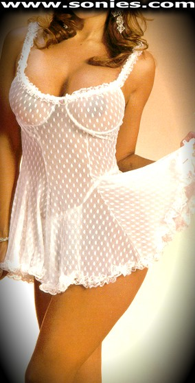 Casilda dot mesh with lace underwire babydoll and G-String