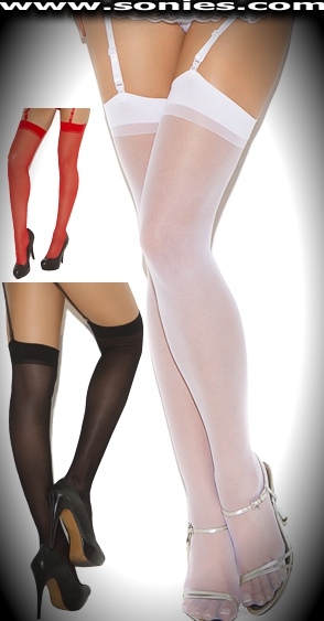 Plus size Chastity stretch sheer thigh high stockings