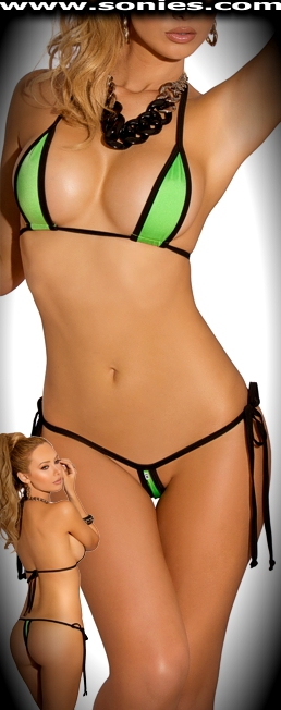 Marcelina lime green with black trim micro two-piece bikini set