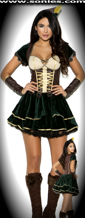 Adorable Archer 3-piece costume: dress, arm guards and headpiece