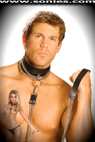 Frideric dual chain leash with black naked leather handle