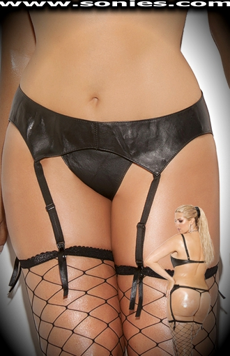 Plus size Ali leather garter belt with adjustable waist straps