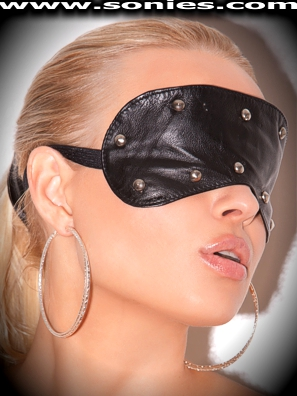 Raphael black naked leather blindfold with metal dome studs