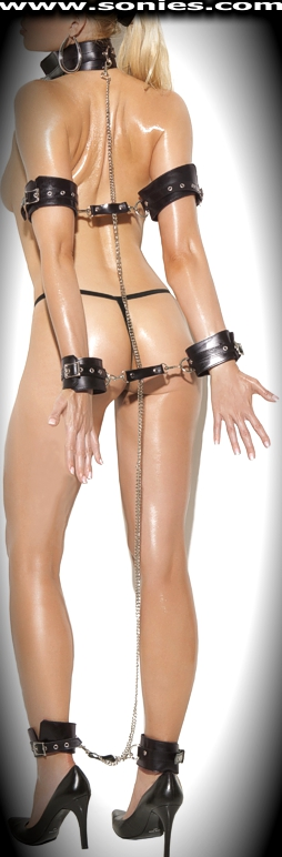 Aestas leather collar with arm, wrist and ankle restraints set