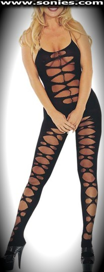 Emperatriz opaque and sheer mock lace-up bodystocking