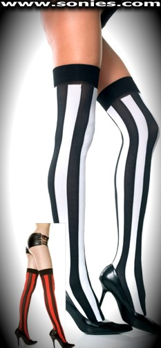 Palladium stretch opaque stockings with contrasting stripes