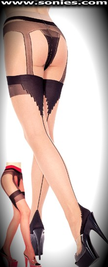 Xanthippe all-in-one sheer with opaque Lycra pantyhose