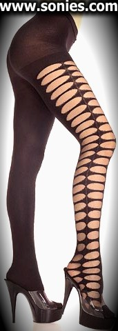 Tisiphone stretch opaque pantyhose with sheer peep-hole sides