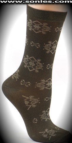 Chic women's dress socks with grand Teton strand design