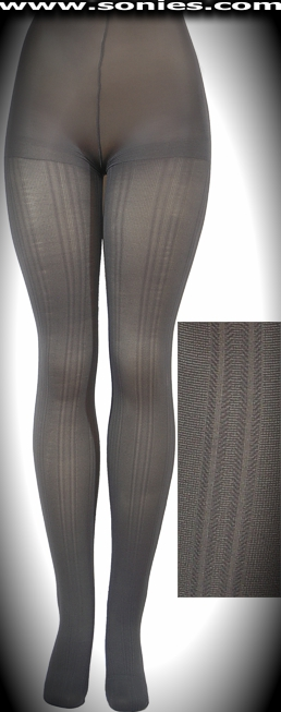 Plus size JESSICA cable pattern microfiber knit Lycra tights