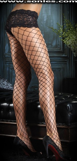 Jelly diamond net pantyhose with sexy lace boy-shorts top