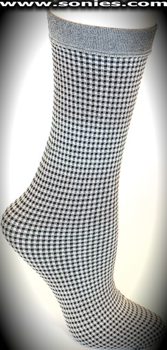 Alondra knee high socks with checker patterned stripes