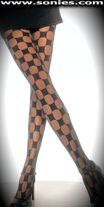Moon Goddess sheer tights with opaque checker-board design