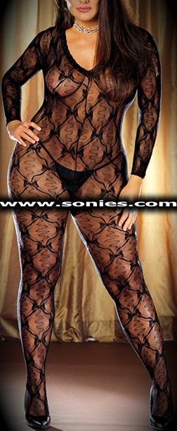 Plus size Leighton sheer bow lace long sleeved bodystocking