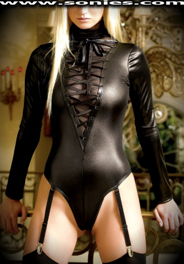 Titan Goddess long sleeve wet-look teddy with thong back