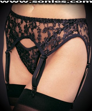 Plus size Zetes floral lace garter belt and thong panty set