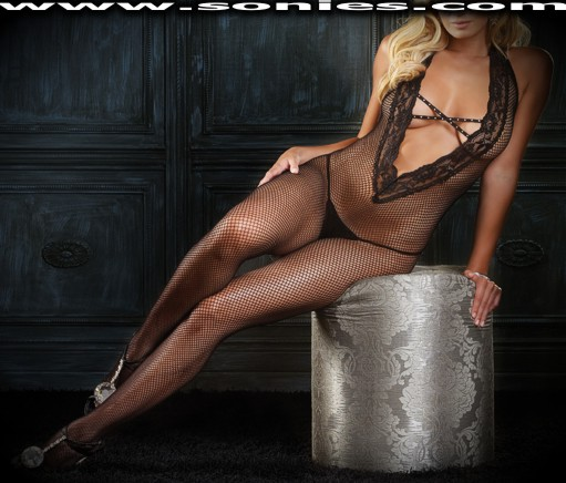 Estrella fishnet with lace halter bodystocking with rhinestones