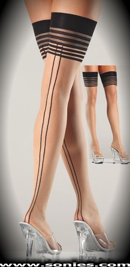 Romana sheer stockings with dual back seam and multi-stripe top