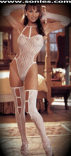 White Lydia sheer thong bodysuit with stockings and gloves set