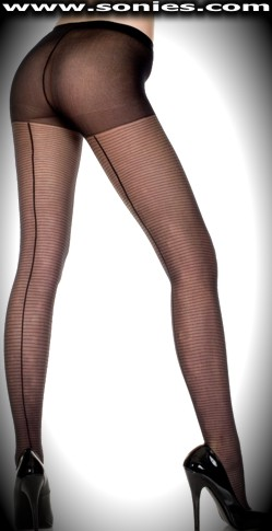 Poison-dart stretch sheer pantyhose with back seam and stripes