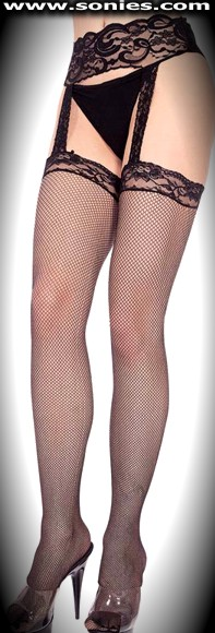 Plus size Anaconda garter belt and attached fishnet stockings