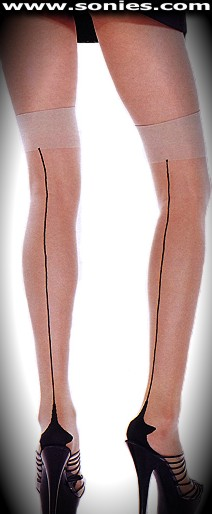 Jean sheer Lycra stockings with opaque Cuban foot and back seam