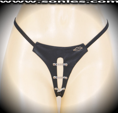 Whitney leather G-String panty with cutout front and chains