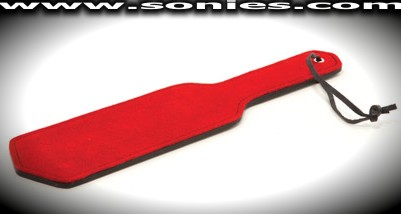 Mother's Little Helper, red suede leather paddle
