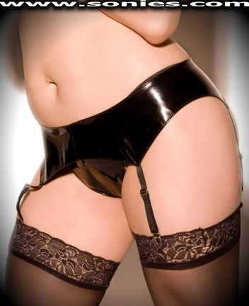 Plus size Glykatzi vinyl garter belt and G-String panty set