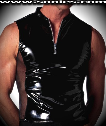 Xenophon vinyl with mesh Lycra tank style muscle shirt