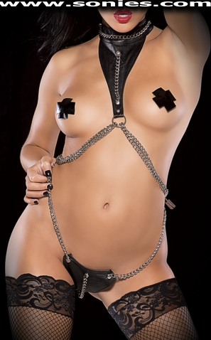 Adhil leather with chains harness teddy and two side padlocks