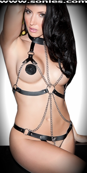 Cassiopeia leather with O-rings and chain harness teddy