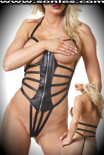 Lambda leather strappy teddy with G-String back finally