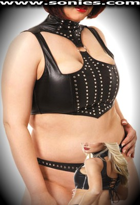 Zaniah plus size leather crop top with cutouts and metal rivet