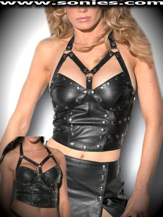 Tirich leather halter top with detachable cups and metal studs