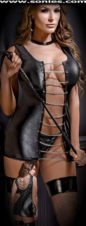 Aurora tank-style micro-minidress with chains and G-String panty