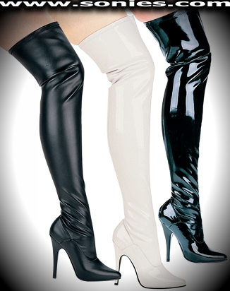Ally thigh high stretch boots with 5-inch stiletto heel