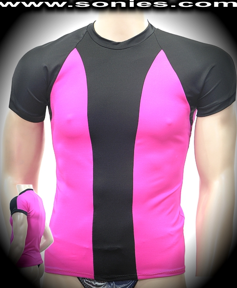 Man's Emilio satin Lycra t-shirt with contrasting panels