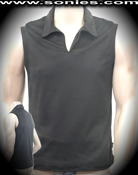 Man's Pizbern soft stretch dance-wear muscle shirt with collar