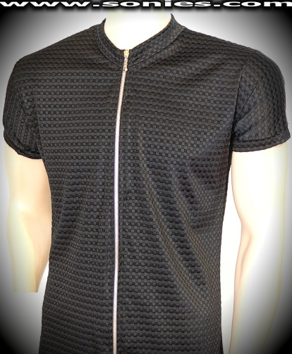Mens Virgil waffle textured slinky Lycra shirt with zipper front