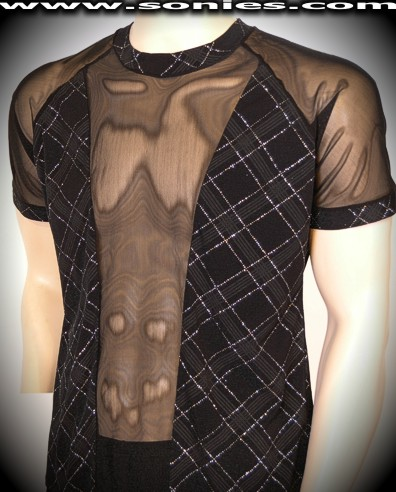 Nibelungs Ogsaphaidos patterned Lycra with mesh dance-wear shirt