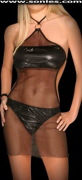 Alba Longa sheer fishnet Shimmel minidress and panty set
