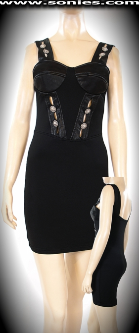 Hymettus Lycra and leather dress with lion head buttons trim
