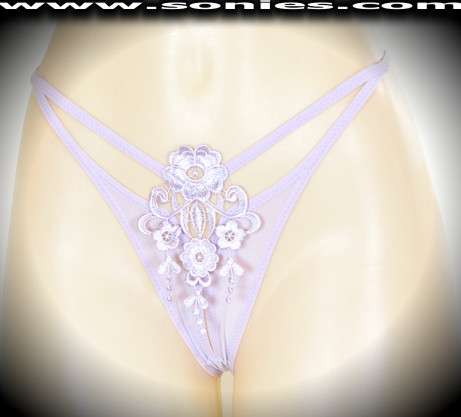 Lhotse G-String panty with embroidered front and cutout straps