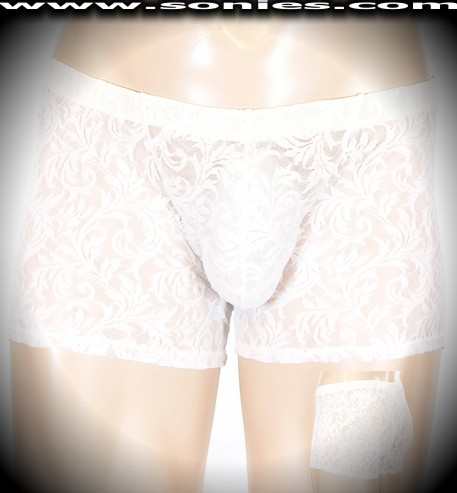 Aneurin translucent floral lace Lycra dance-wear shorts