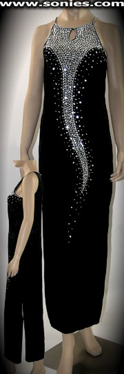 Sumaco velvet gown adorned with sequin and silver beads