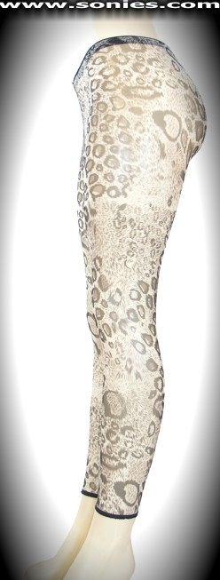 Stretch translucent cheetah print mesh Lycra footless tights