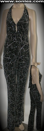Diopater galaxy ray patterned slinky Lycra halter style catsuit